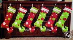 Whoville Christmas Stockings - These would be cute to make (in a small version) to put our utensils and napkin in.