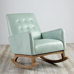 Gorgeous and sophisticated green leather chair from Everly Rocking Chair White Wooden Rocking Chair, Upholstered Rocking Chairs, Rocking Chair Cushions, Green Leather Chair, Leather Fabric, Leather Chairs, Leather Recliner, Saarinen Chair, Reading Nook Chair