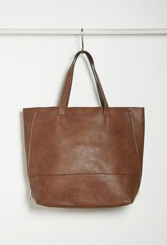 Zippered-Side Faux Leather Tote | Forever 21 - 1000156007
