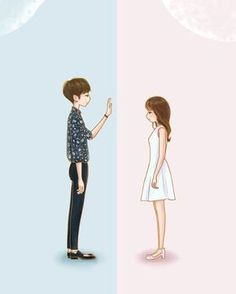 Two worlds. one heart Two worlds. one heart Love Cartoon Couple, Cute Couple Art, Anime Love Couple, Cute Anime Couples, Couple Illustration, Character Illustration, Digital Illustration, Animes Wallpapers, Cute Wallpapers