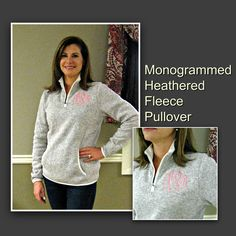 Women's Monogrammed Heathered Fleece Pullover in Oatmeal by jansnstitches on Etsy