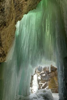 Frozen waterfalls in Maligne Canyon at Jasper National Park