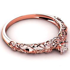 Rose Gold Round Cut Created Sapphire Rhodium Plated 925 Sterling Silver Women's Ring