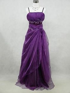 Cherlone Plus Size Satin Purple Prom Ball Gown Wedding/Evening Party Dress 22-24