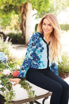 blue floral top with black trim {perfect for an interview} LC Lauren Conrad fall collection