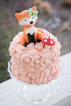 Woodland fondant fox birthday cake smash cake first birthday party