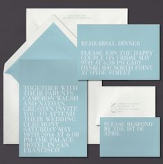 Our Aquamarine invitation suite is shown here foil stamped and letterpress printed.