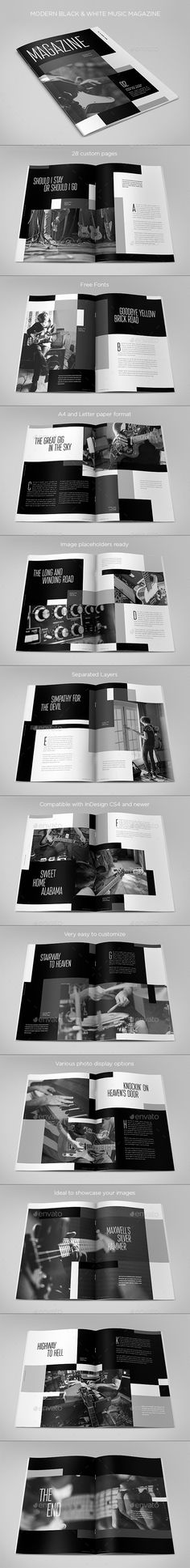 Modern Black & White Music Magazine by AbraDesign MODERN BLACK & WHITE MUSIC MAGAZINEClean, modern and simple design ideal for any purposes. Very easy to adapt and customize. DETA