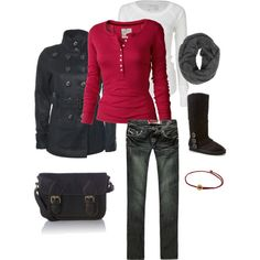 comfy casual with black & red layered look...NEED these boots and jeans!!!