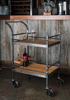 New Rustic Rolling Bar Cart