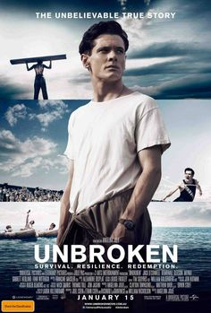 UNBROKEN, 2014. Directed by Angelina Jolie. Starring Jack O'Connell, Domhnall Gleeson, Miyavi, Jai Courtney, Alex Russell, Finn Wittrock, Garrett Hedlund and Luke Treadaway. SYNOPSIS: The true and inspiring story of Louie Zamperini, Olympic athlete and WWII vet who survived air raids, 45 days in open sea with no food or water, and two years..