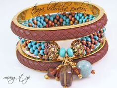 Tanya Lochridge Jewelry Milky Aquamarine & Smoky Quartz Bangle stacked with Joan Rivers Classics Collection. I love this combo! #joanriversclassicscollection