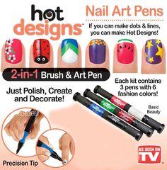 Hot Designs Nail Art Pens BASIC BEAUTY  As Seen On TV 2 in 1 Brush & Pen  Polish #HotDesigns