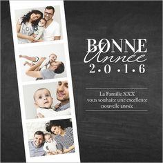Carte de voeux photomaton. Disponible en 4 formats et à personnaliser sur Popcarte.com