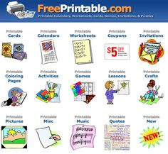 Free Printables will save you money on cards, calendars, coloring books and more.