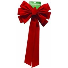 4 1/2'' wide red velvet ribbon bow. Deluxe bow has 2 layers of 12 loops and a center loop. This larger size bow can be used indoor and outdoor on treetops, doors, and lamp posts. 1 on a card.