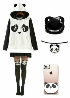 Pastel Goth Outfits, Pastel Goth Fashion, Kawaii Fashion, Little Girl Outfits, Cute Girl Outfits, Cute Casual Outfits, Girls Fashion Clothes, Teen Fashion Outfits, Panda Outfit