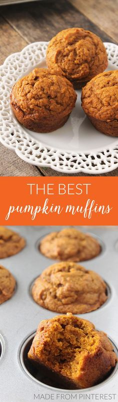 The Best Pumpkin Muffins. These ultra soft and flavorful pumpkin muffins are the perfect way to start your day. With just the right balance of flavors, these muffins are sure to be a crowd-pleaser! Pumpkin Recipes, Fall Recipes, Holiday Recipes, Yummy Treats, Delicious Desserts, Yummy Food, Best Pumpkin Muffins, Muffins Blueberry, Mini Muffins