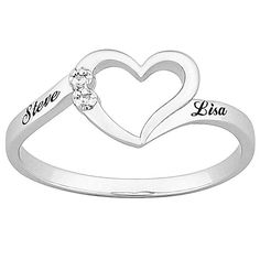 "Top-Engraved Sterling Silver Diamond ""One Heart"" Name Promise Ring"