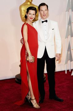 Newlyweds: Benedict Cumberbatch and his pregnant wife Sophie Hunter worked the red carpet . Celebrity Couples, Celebrity Style, Celebrity Gossip, Celebrity News, Benedict Cumberbatch Sophie Hunter, Vestidos Oscar, Les Oscars, One Shoulder Gown, Star Wars