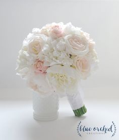 Peony Bouquet  with roses in blush and ivory  Ivory Peony