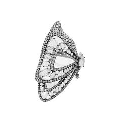 Etho Maria 18K White Gold Butterfly Ring with Rose Cut Diamonds and Micropave Diamonds, with Black Rhodium : Soho Gem