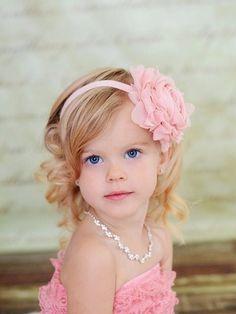 flower girl hair. white headband instead :)