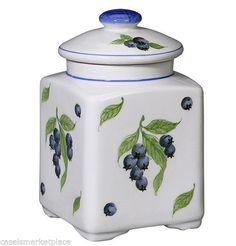 Andrea By Sadek Blueberries Porcelain Medium Square Covered Jar Canister