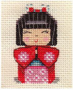 JAPANESE KOKESHI DOLL  ~ Full counted cross stitch kit