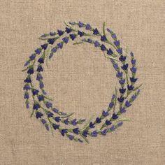 Lavender WreathHand Towel - Natural Linen – Henry Handwork