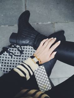 I'm mixing it up | Camilla Pihl // stripes + arm candy + ankle boots + leather pants style