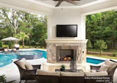 Arthur Rutenberg Homes - Outdoor Living Space. So pretty Outdoor Living Space, Pool House, Outdoor Rooms, Pool Houses, Florida Home, Outdoor Fireplace, Arthur Rutenberg Homes, Dream Backyard, Pool House Decor