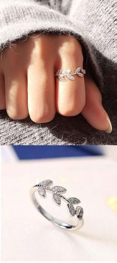 Sweet Leaf Ring Vivid Diamond-bordered Leaves Silver Women Open Ring for big sale! #ring #leaf #women #silver