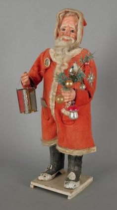 Composition mechanical Santa Claus, with feathe : Lot 899 Antique Christmas Decorations, Christmas Mantels, Christmas Past, Vintage Christmas Ornaments, Father Christmas, Retro Christmas, Christmas Items, Christmas Villages, Vintage Decorations