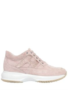 HOGAN 60MM INTERACTIVE SUEDE SNEAKERS, LIGHT PINK. #hogan #shoes #sneakers Suede Sneakers, Converse, Casual, Pink, Clothes, Shopping, Style, Fashion, Outfits