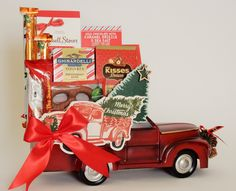 Vintage Truck Holiday Gift Basket Holiday Gift Baskets, Holiday Gifts, Chocolate Drizzle, Novelty Items, Peppermint, Floral Arrangements, Party Favors, Custom Design, Merry