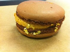 Salted caramel & chocolate macaroon (with fancy edible gold flakes!!!)
