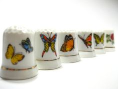1970s Vintage Instant Collection Porcelain Butterfly Sewing Thimbles