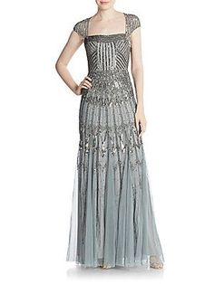 Adrianna Papell Embellished Cap-Sleeve Gown - Slate - Size