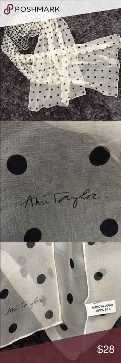 Ann Taylor silk polka dot scarf Ann Taylor silk polka dot scarf. So pretty summer lightweight scarf. Dots are more clustered in middle. Great condition.  Please ask all questions before buying. Ann Taylor Accessories Scarves & Wraps