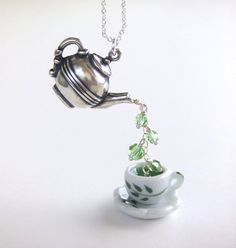 Silver Teapot Cup Green Tea Pendant Necklace Peridot by LycheeKiss, $30.00