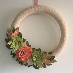 RESERVED 18 felt flower ivory lace wreath.