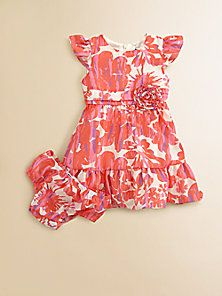 DKNY - Infant's Ruffled Floral Print Dress & Bloomer Set - Saks Fifth Avenue Mobile