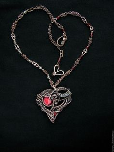 Купить Heart Attack кулон медный с кораллом - сердце кулон, сердечко подвеска