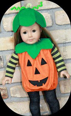 American Girl doll Halloween pumpkin by PeanutButterBlossom, $20.50