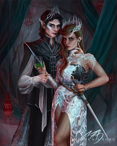 The King and Queen of Elfhame // Cardan and Jude from The Cruel Prince by . Ask permission if you want to repost. I put a lot… Fanart, Book Characters, Fantasy Characters, Holly Black Books, Queen Of Nothing, Captive Prince, Sarah J Maas, Throne Of Glass, Book Boyfriends