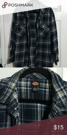 Flannel Long Sleeve Shirt 100% Cotton, used, checkered navy blue Dickies Tops Button Down Shirts