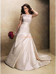 Maggie Sottero A-linie Schlichte Schöne Brautkleider aus Taft mit Applikation