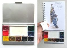 Russell Stutler's Book about Sketching, Page 4: Tools and materials (continued).  I love the idea to repurpose old eye shadow trays as mini watercolor palettes.