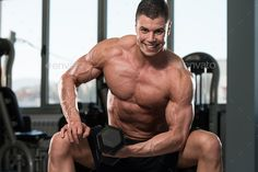 Young Physically Bodybuilder Working Out Biceps – Dumbbell Concentration Curls #fitness #inspiration #bodybuilding